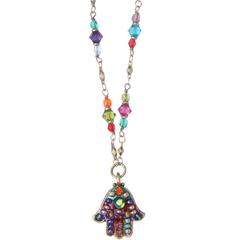Multi Bright Hamsa Necklace