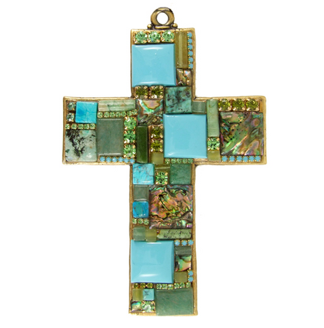 Turquoise Mosaic Wall Cross