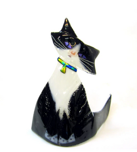 Black Tuxedo Glass Kitten