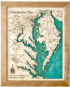 "Custom 11"" x 14"" Wood Lake Map"