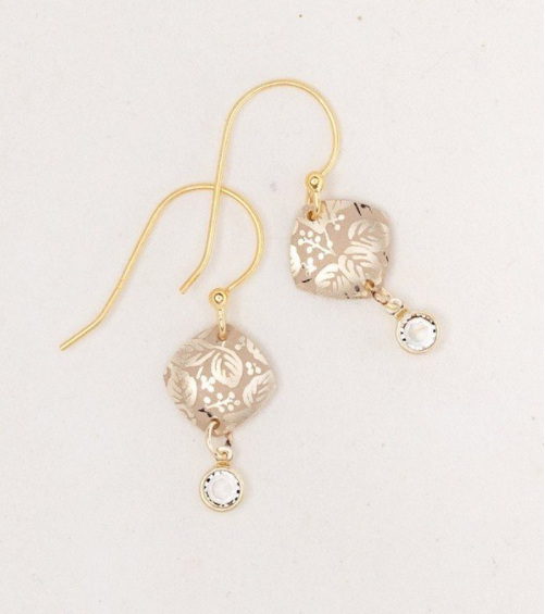 Gold Square Leaf Earrings