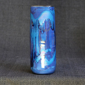 Iridescent Blue Small Square Vase