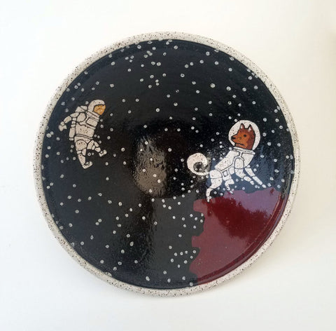 Large V Dog Astronaut Bowl with Red Accent