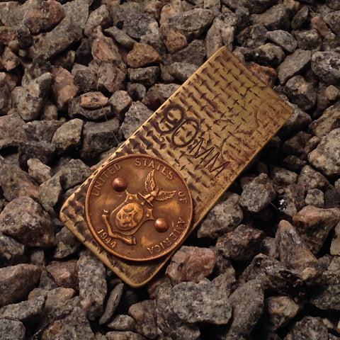 WWII Shell Casing Money Clip with American Coin