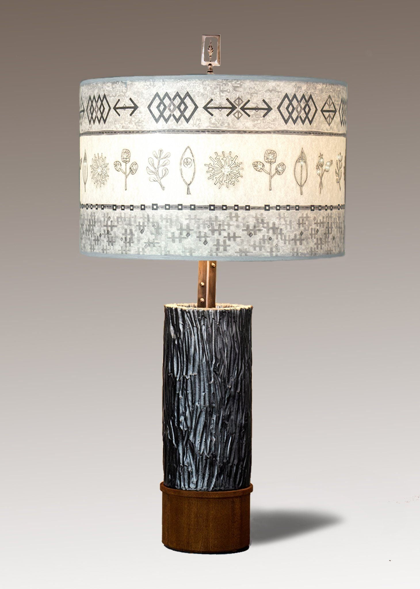 Woven Spring  & Mist Ceramic & Wood  Table Lamp