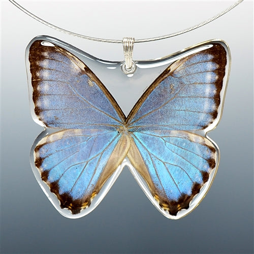Adonis Blue Morpho Butterfly Necklace