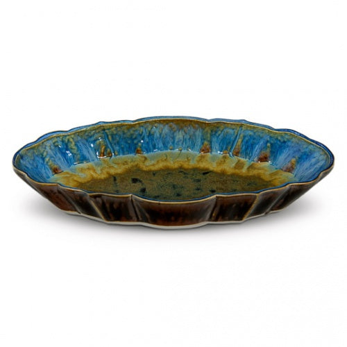 Amber Blue Glaze Scalloped Platter