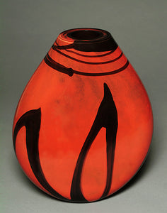 Asian Lacquer Red Vase