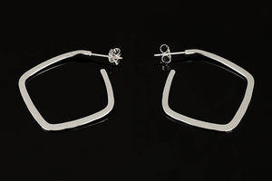 Medium Silver Square Hoop Earrings