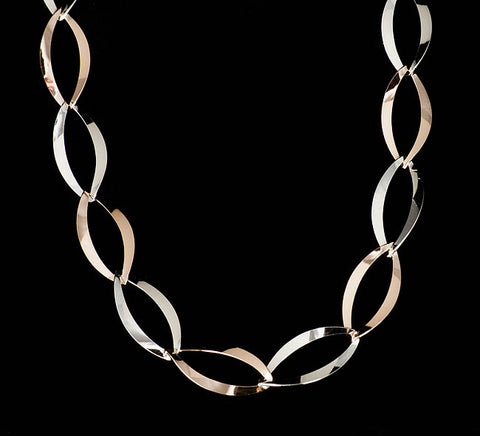 Mixed Metal Ovals Necklace