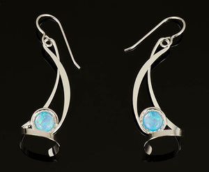 Silver Dangle with Opal Earrings