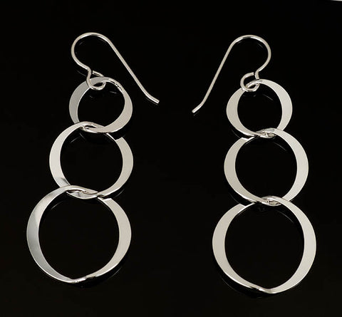 Silver Triple Circle Earrings