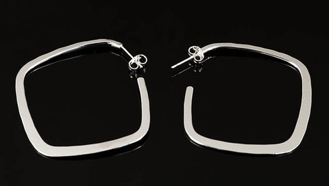 Large Silver Square Hoop Earrings