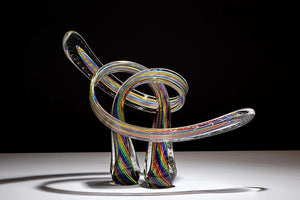 Rainbow Cane Embrace Glass Sculpture