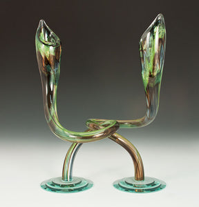 Brown and Green Twist Candlesticks