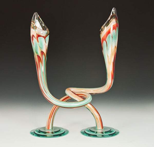 Cherry, Green, and White Twist Candlesticks
