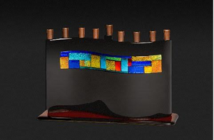 Multicolor/Black S Curve Menorah