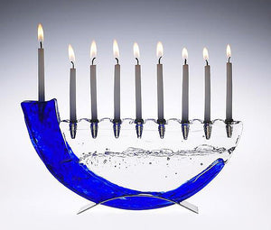 Blue Shofar Menorah