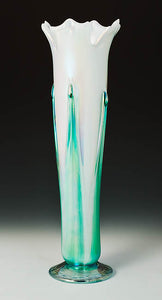 White Iridized Flower Vase