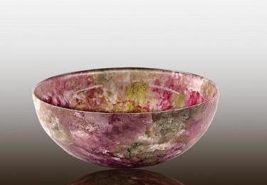 Small Glass Bowl Raspberry Rose Tones