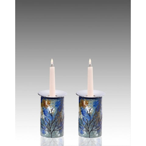 Small Glass Candle Holders Ocean tones