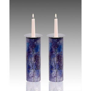 Large Glass Candle-Holders Majestic Purple