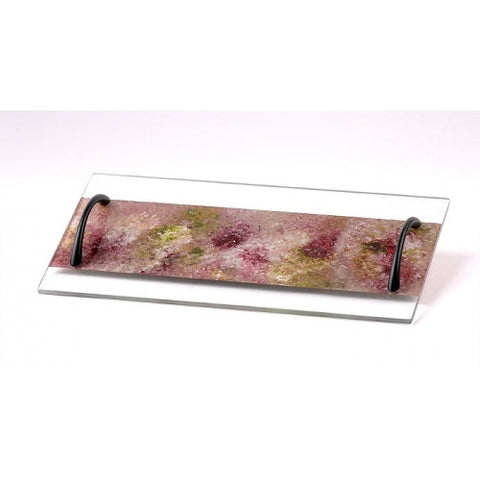 Glass Tray Raspberry Rose Tones