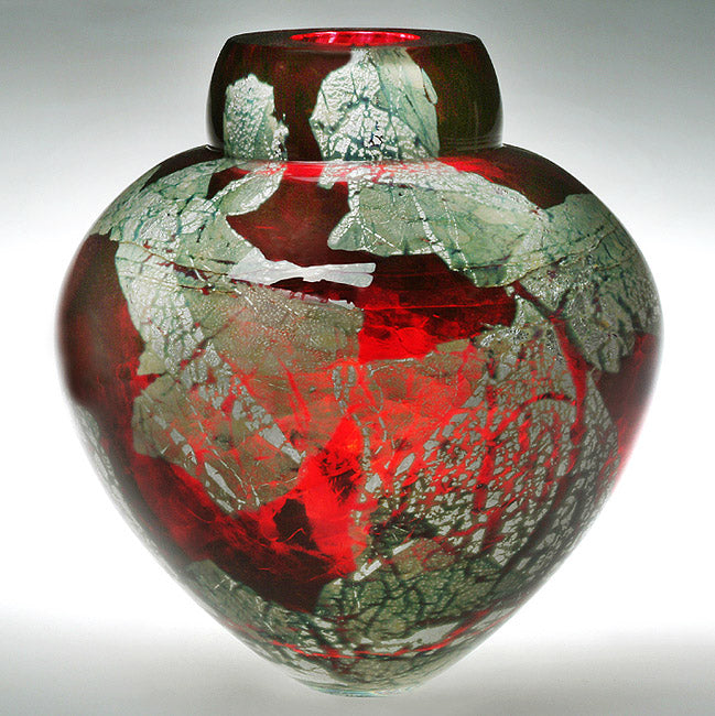 Gold Ruby with Silver Leaf Emperor Bowl