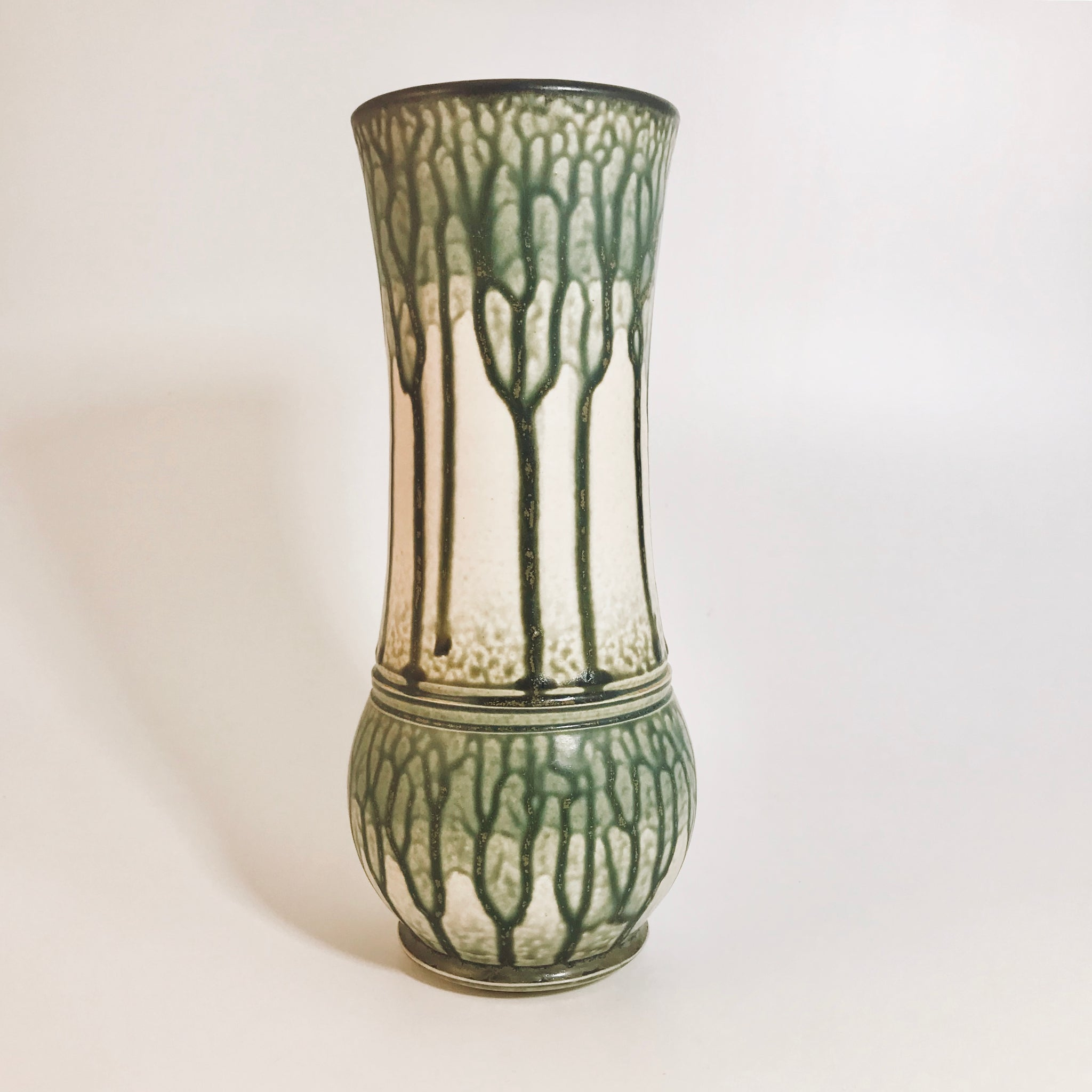Tall Green Ash Glaze Vase