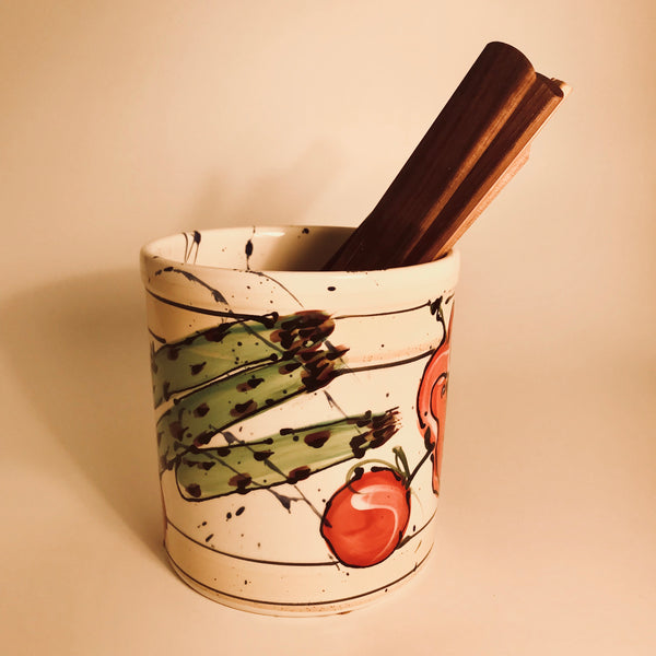 Vegetable Patterned Utensil Holder