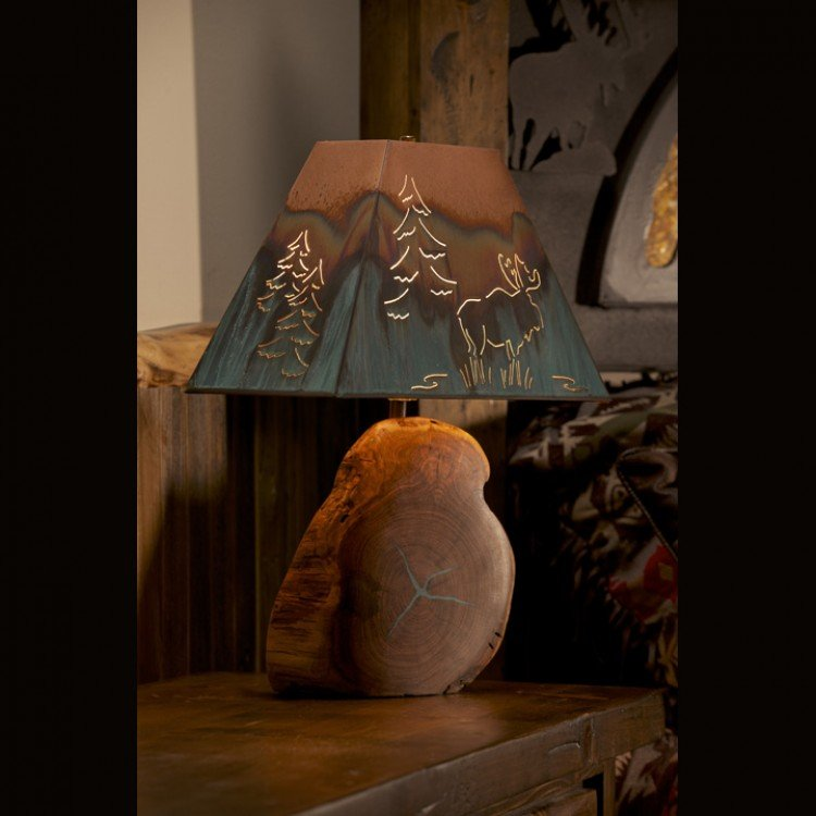 Turquoise Inlay Mesquite Lamp/Copper Shade/Moose Image