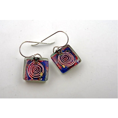 Mesmer Square Purple Earrings
