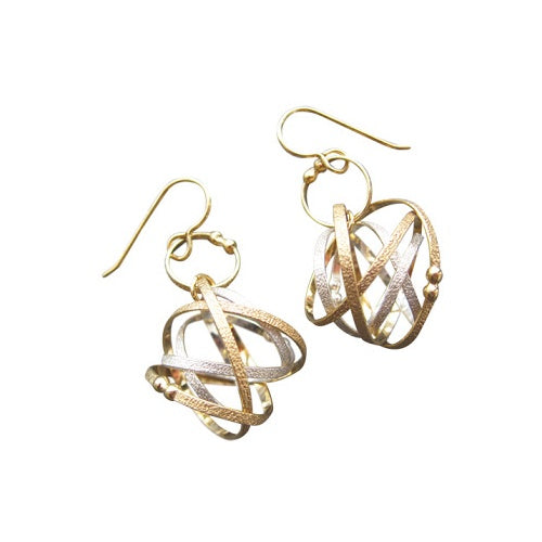 Mixed Metal Mobius Loop Earring