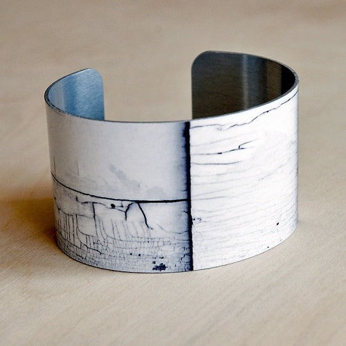 White Wood Aluminum Cuff