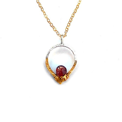 Silver & Gold Teardrop Pendant with Garnet