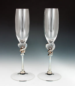 Silver Queen Champagne  Flutes