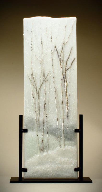 Snow Forest Glass Sculpture