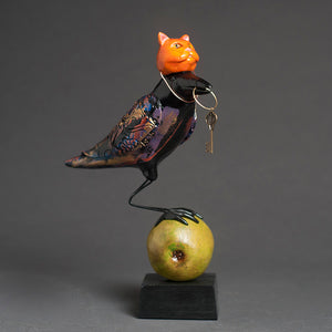 Cat Raven Bird Sculpture
