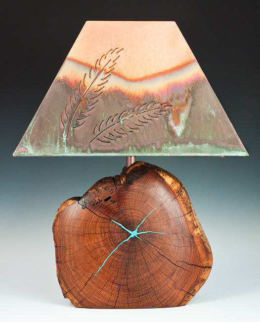 Mesquite Lamp/ Turquoise Inlay with Feather Copper Shade