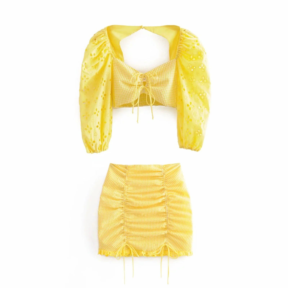 Sunflower Top & Skirt Twin Set