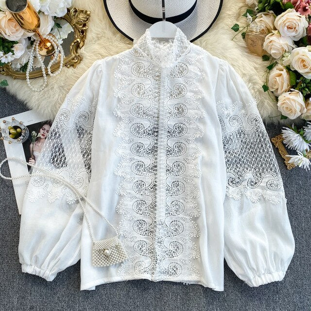 Whitney Lace Shirt Bow Tie with Lantern Sleeve
