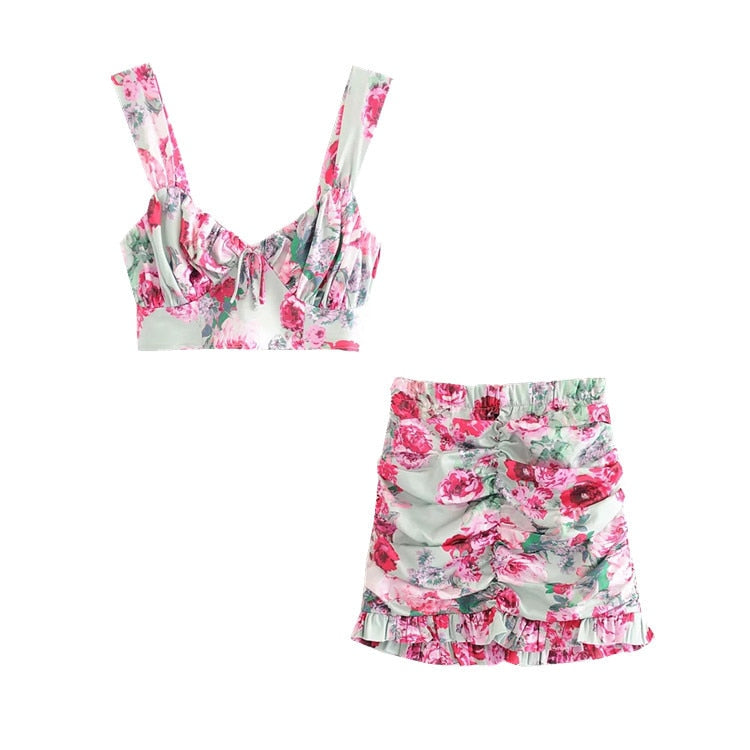 Flower Strap Crop Top and Skirts