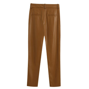 Dreamer Brown Faux Leather Trousers