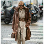 Courtney Faux Leather Long Parka Coat
