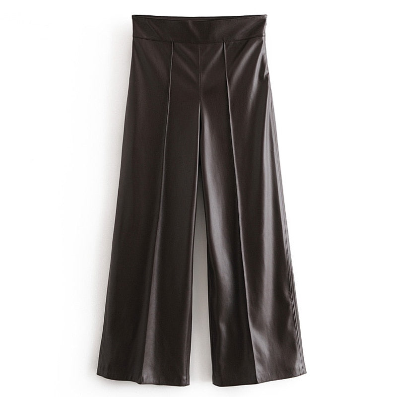 Emily PU Leather Wide Leg Pants