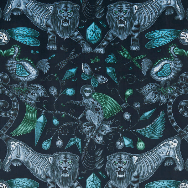 Emma J Shipley for Clarke & Clarke - Extinct Navy Velvet Fabric