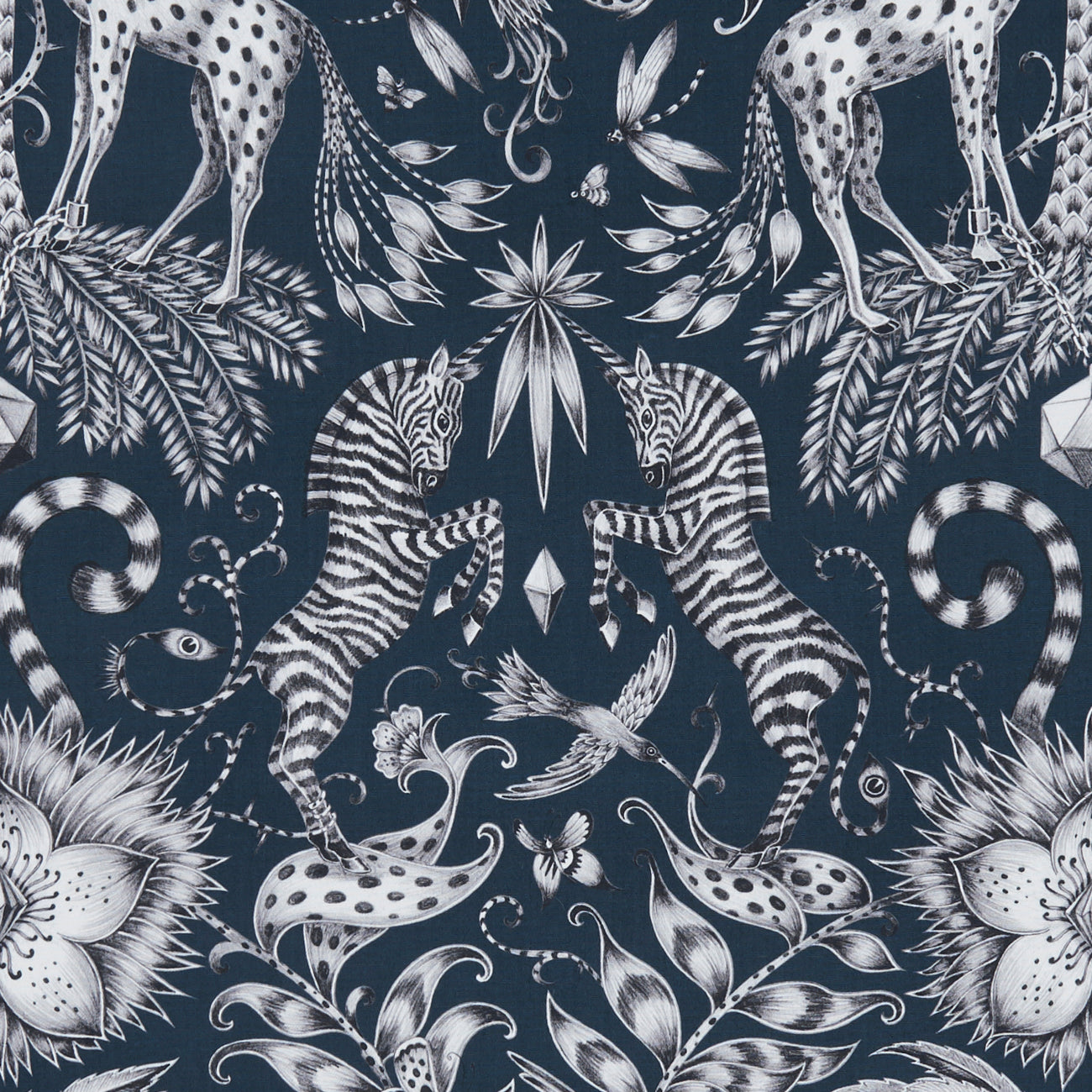 Emma J Shipley for Clarke & Clarke - Kruger Navy Fabric