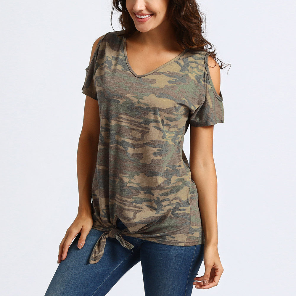 99ef5097656aa3 Women Casual Cold Shoulder Knot Design Camouflage Tops T-Shirts Blouse ...