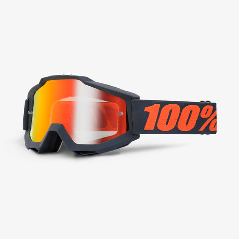 100% Accuri Goggle Matt Black gunmetal -  Red mirror