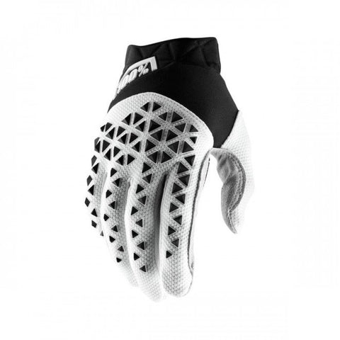 100% Airmatic Glove Black White Silver